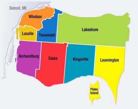 Map Of Leamington Ontario Canada Ontario Rural Routes   Leamington
