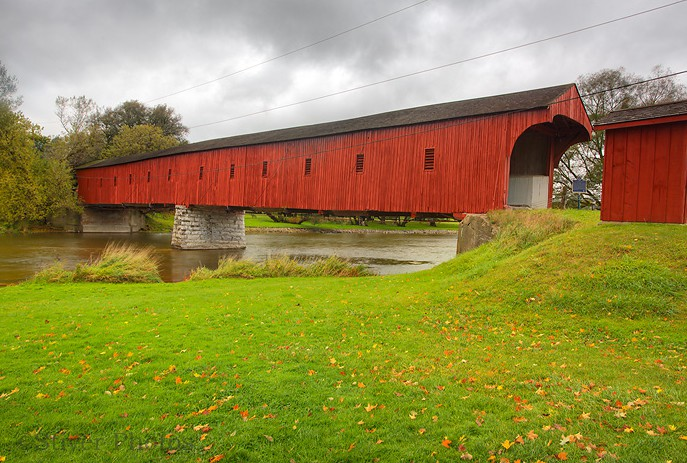 West Montrose Covered Bridge When Built: 1880  Builders: John Bear  GPS Position: N:43:58518 W:80.48140  This is Ontario's only remaining Covered Bridge, known locally as the Kissing Bridge.