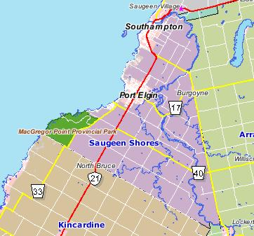Map Of Port Elgin Ontario Canada Rural Routes   Town of Saugeen Shores (Lower Tier Bruce)