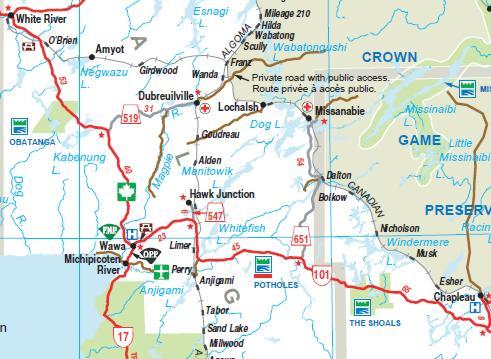 Map Of Wawa Ontario Canada Rural Routes   Municipality of Wawa (Single Tier Algoma)