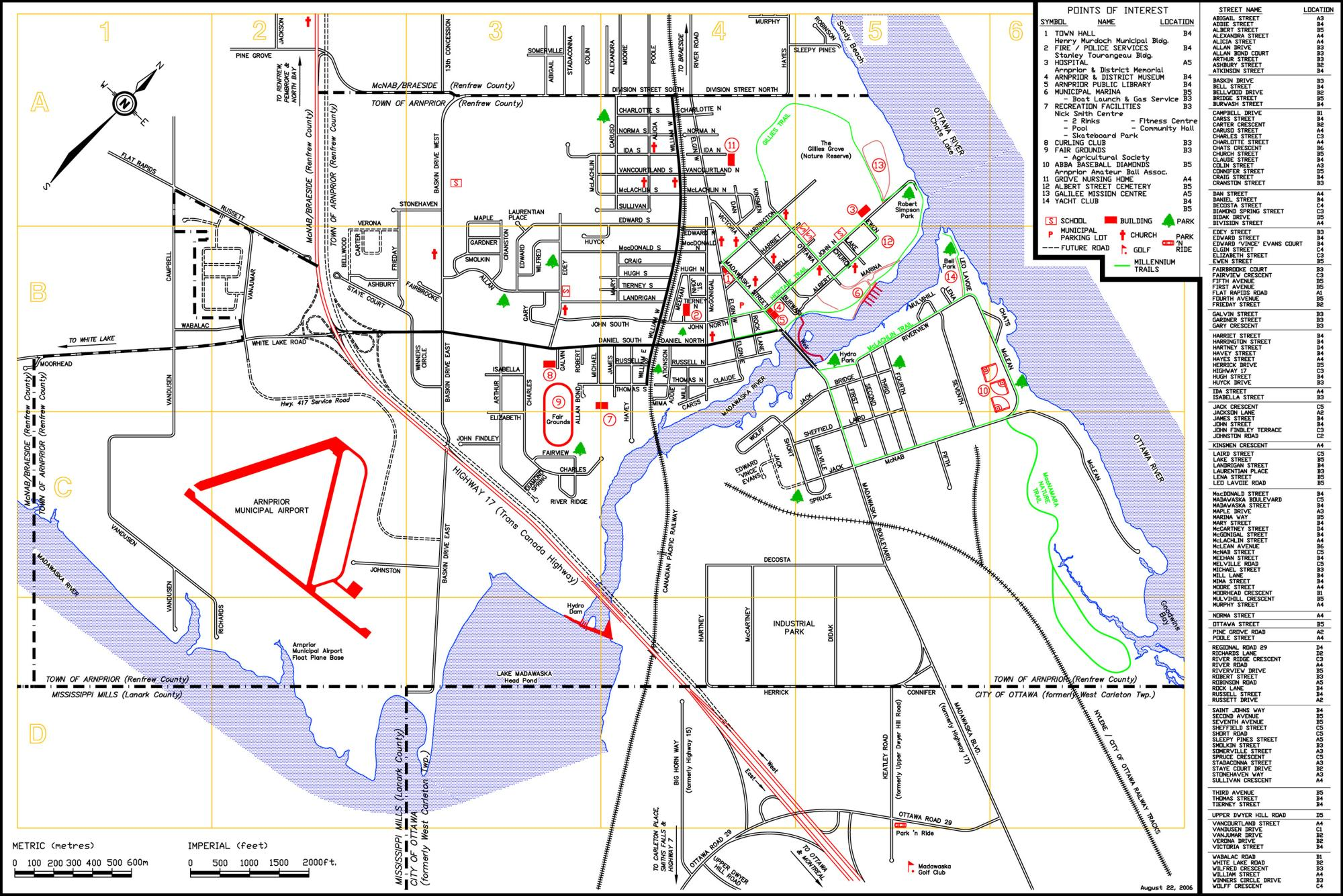 Map Of Arnprior Ontario Canada Rural Routes   Town of Arnprior (Lower Tier Renfrew)